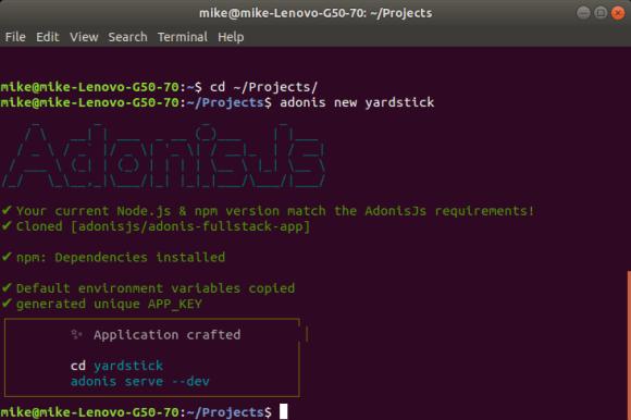 Creating an AdonisJs Application