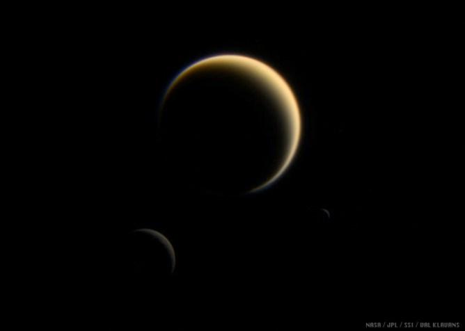 Rhea, Titan, and Mimas Together