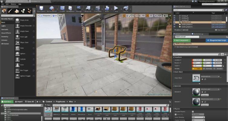 Pose d'un ratelier à vélo dans Unreal engine 4 pour City of titans
