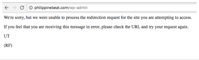 DNS error message
