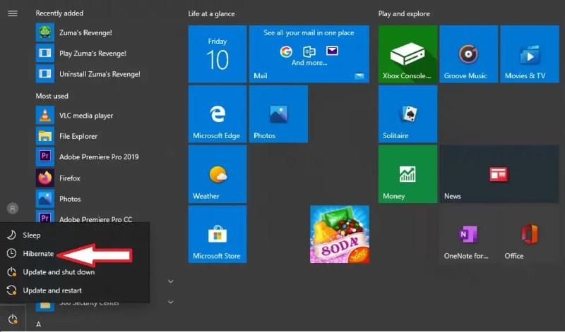 Hibernate Option In Windows 10