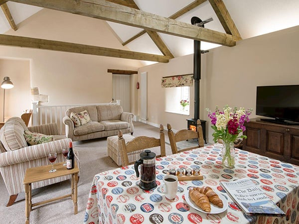 Hayloft Cottage Living and dining area