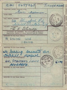 Identity card for Eric Norman Titheradge 1946 - 1951 (inside)