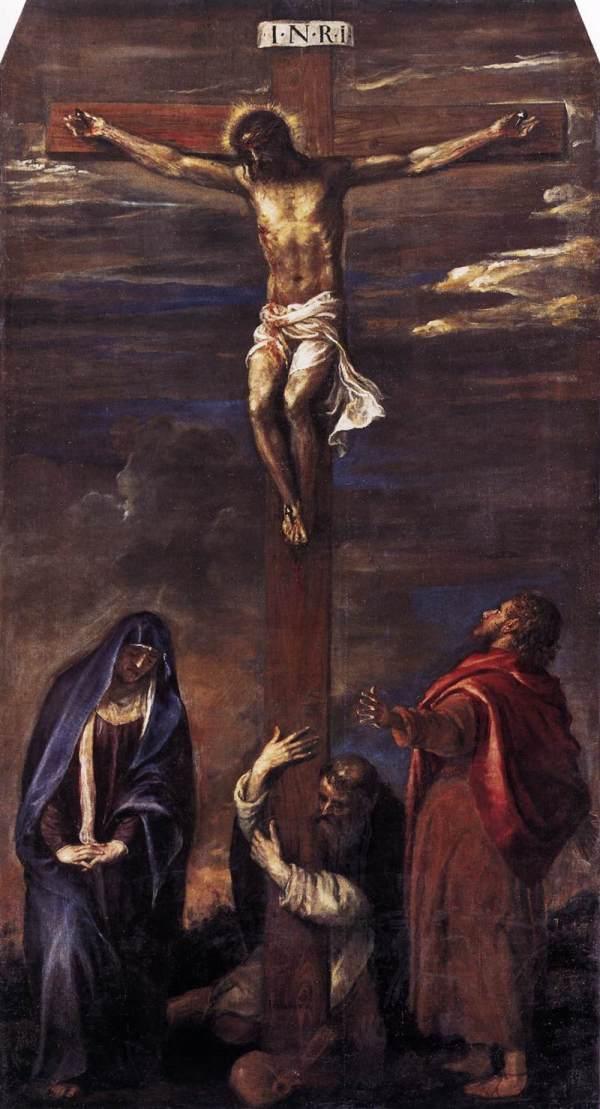 Распятие Христа на кресте. Картина художника Тициана ...