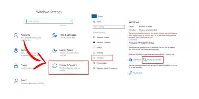 Aktivasi Windows 10 dengan Product Key