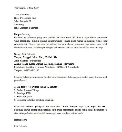 Contoh surat lamaran kerja di pt bagian administrasi