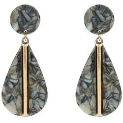 New-Look-Grey-and-Black-Marble-Effect-Teardrop-Earrings