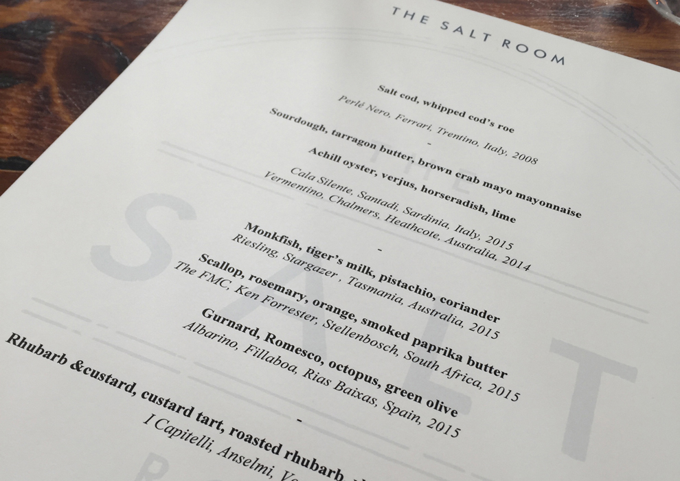 Salt Room tasting menu