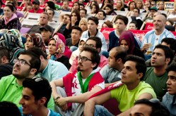 Austria - Iran Soccer Fans are watching the World Cup game against ArgentinaPhoto By Alireza Farsaei