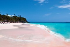 Pink Sand Beach, Bahamas. The idyllic pink sand of the Bahamas is pigmented by washed-up coral remnants, which are dashed and ground to tiny pieces by the surf. Image credits: luxuo.com
