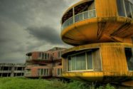 Sanzhi UFO Houses - San Zhi, Taiwan. These homes were intended to be sold to U.S. military officers when construction began in 1978. In 1980, work was halted due to loss of investment.