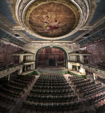 Orpheum Auditorium - New Bedford, Massachusetts. This Auditorium opened on the same day that the Titanic sunk, April 15th, 1912. A supermarket now occupies some of the building, but the rest remains beautifully deserted.
