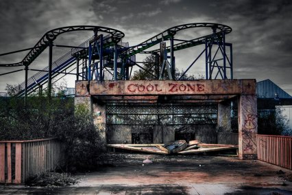 Six Flags Jazzland - New Orleans, Louisiana. Severely damaged by Hurricane Katrina, Six Flags Jazzland has been abandoned since. Several of the rides still stand, a testimony to the resilience of New Orleans. Several companies have plans to develop the park, but until then it will remain as the perfect setting for a horror movie.