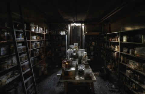 An abandoned veterinary school basement. The jars are filled with animal remains like intestines, hearts, lungs and severed dog heads submerged in formaldehyde. Photo By Niki Feijen