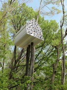 Treehouse for Birds and People (Andu Momofuku Centre, Japan) A modern tree house concept by Nendo offers you the possibility to peek into the private life of birds. Divided into two parts by a wall with little peek holes, it allows people to see what the birds are doing on the other side of their wall. (Designed by: nendo)