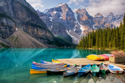 Canoes for rent on Canada's beautiful Moraine Lake
