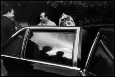 TUNISIA. Tunis. 1988. PLO Chairman Yasser ARAFAT leaves the residence of the PLO Ambassador to Tunisia.