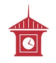 The red clock part of the library logo