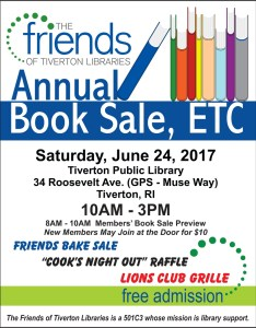 Tiverton library book sale flyer from 2017