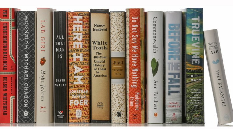 twelve standing books with a smaller book on the end leaning against them