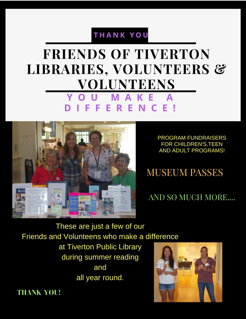 Flyer thanking librarians and volunteers with some of them pictured