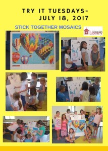 Flyer showcasing many pictures of children assembling a stick together mosaic of colorful hot air balloons