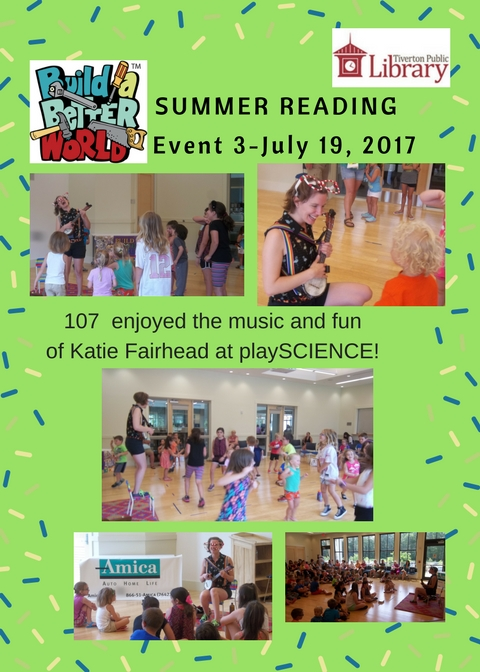 A flyer with several photos of groups of children dancing and listening to music played by Katie Fairhead