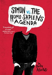 Cover for Simon vs. The Homo Sapiens Agenda by Becky Albertalli picturing a man whose head is replaced by a speech bubble containing the title of the book
