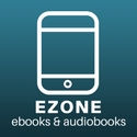 "white outline of a smartphone captioned ""EZONE ebooks & audiobooks"""