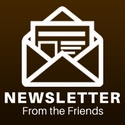 "a digital drawing of an open envelope captioned ""newsletter from the friends"""