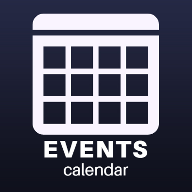 events calendar icon. white calendar on a dark background
