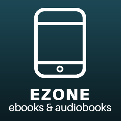 ezone ebooks and audiobooks icon. white portable device graphic on a green background