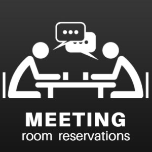 meeting room reservations icon. people at a table talking with drinks in their hands graphic on a dark background