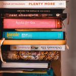 cook books in a cardboard box