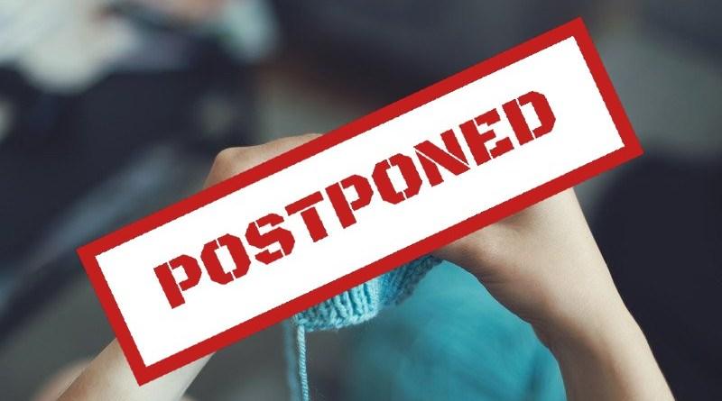 postponed banner for knitting
