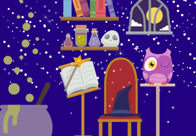 wizard hat in magical room