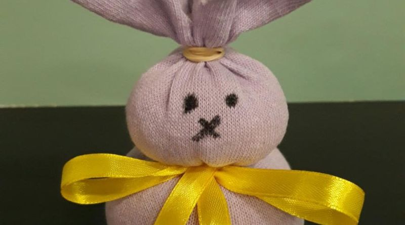 bunny craft. cloth wrapped up to form a bunny