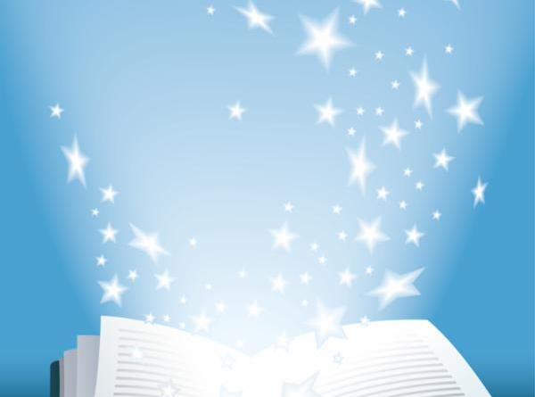 an open book with stars flying out of the pages