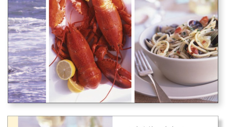 Beach House Cookbook by Barbara Scott-Goodman. Collage of the ocean, a lobster,served on a table bowl of pasta on a table