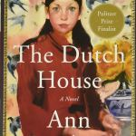 the dutch house by ann patchett book cover painting of women in red jacket yellow wallpaper with pink flowers and blue birds pattern behind her