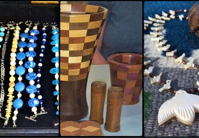 crafts for sale. beaded necklaces, furnishings made from wood, other jewelry