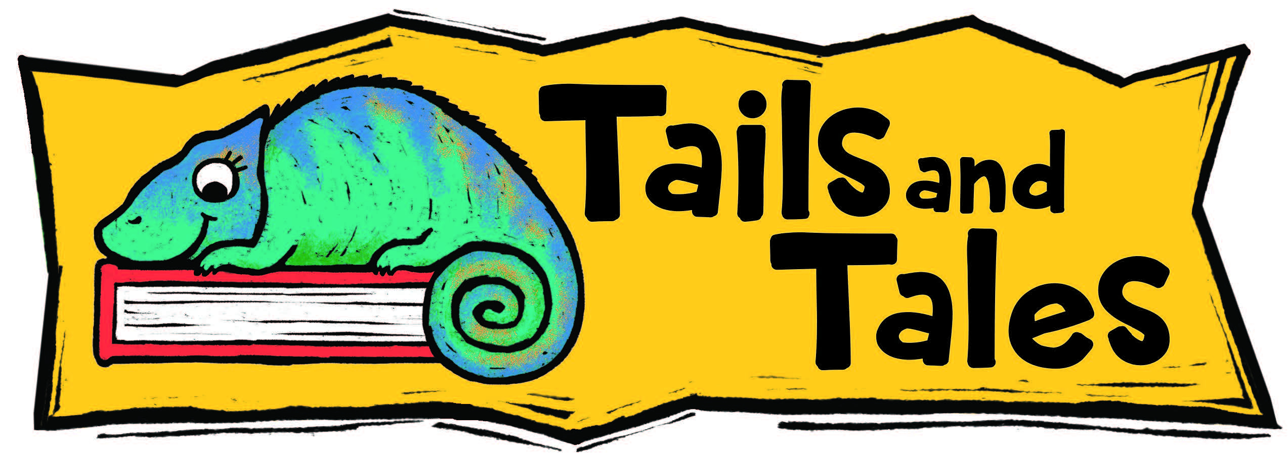 tails and tales summer adventure coming teal chameleon sitting on a closed red book