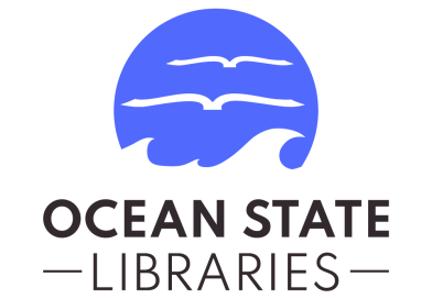 Ocean State Libraries logo blue circle white waves books in the sky