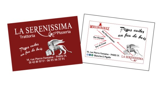 Carte de visite - Restaurant -La Serenissima