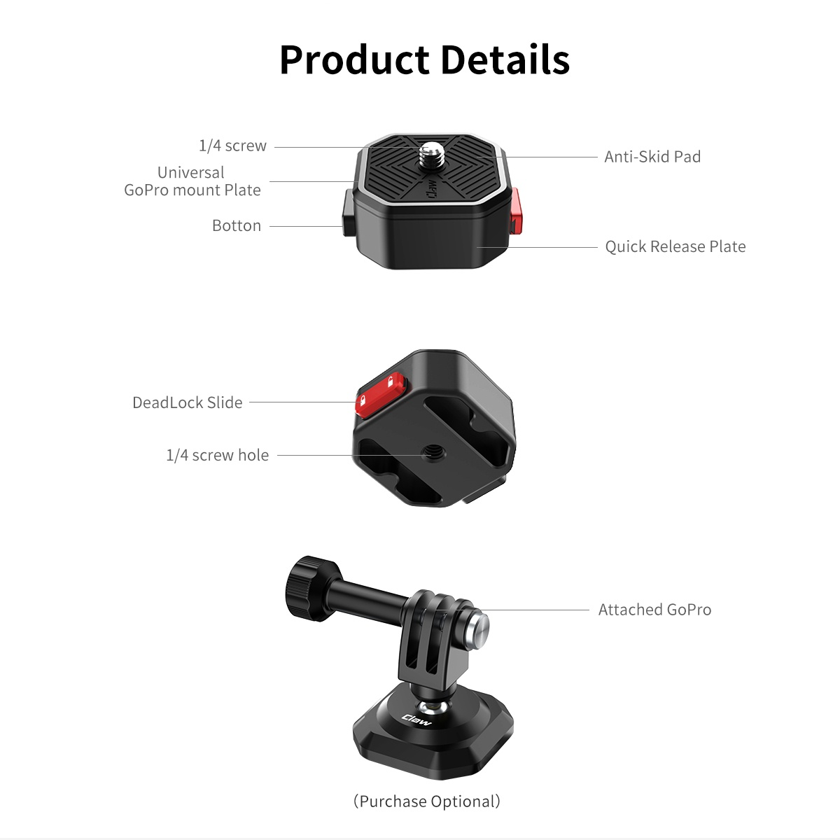 Ulanzi Claw Quick Release Plate for Smartphone DSLR Camera Action Camera-india-tiyana