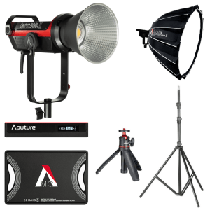 YouTuber Studio Continuous LED Video Light Kit - Aputure 300d II, Dome II, MC RGBWW, Mini Tripod, Light Stand