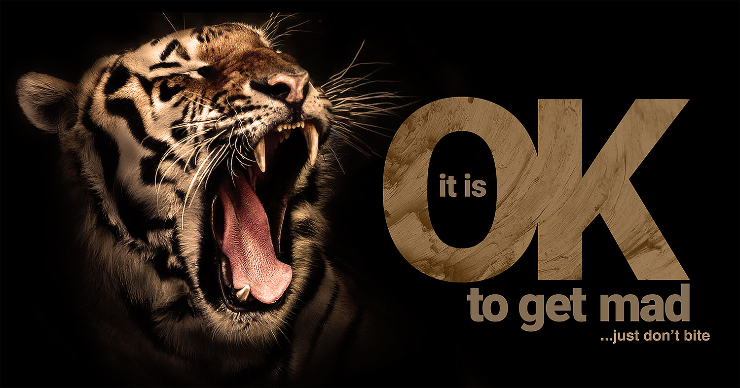 daily inspirational quote image: a tiger roaring over a black background