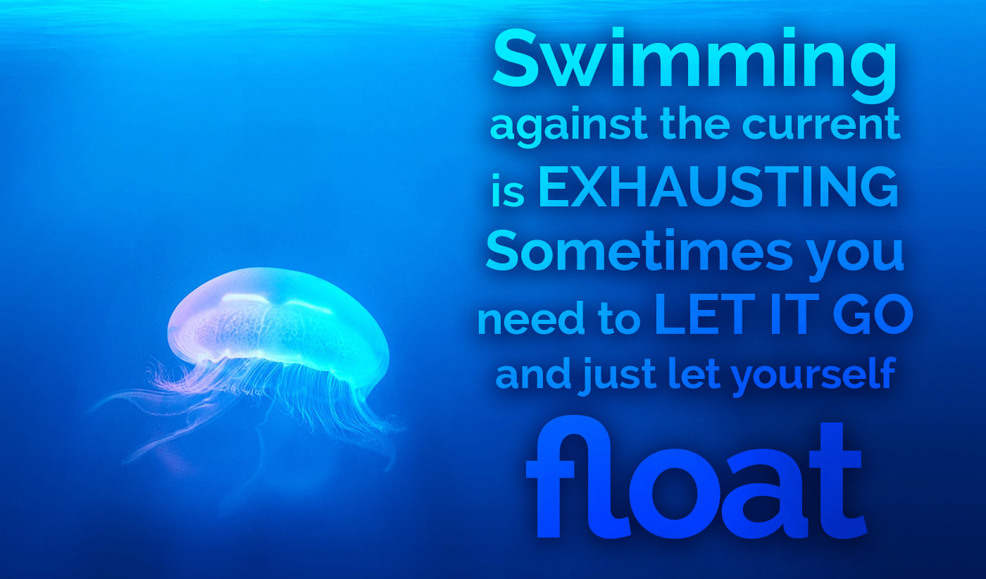 daily inspirational quote image: almost fluorescent jellyfish