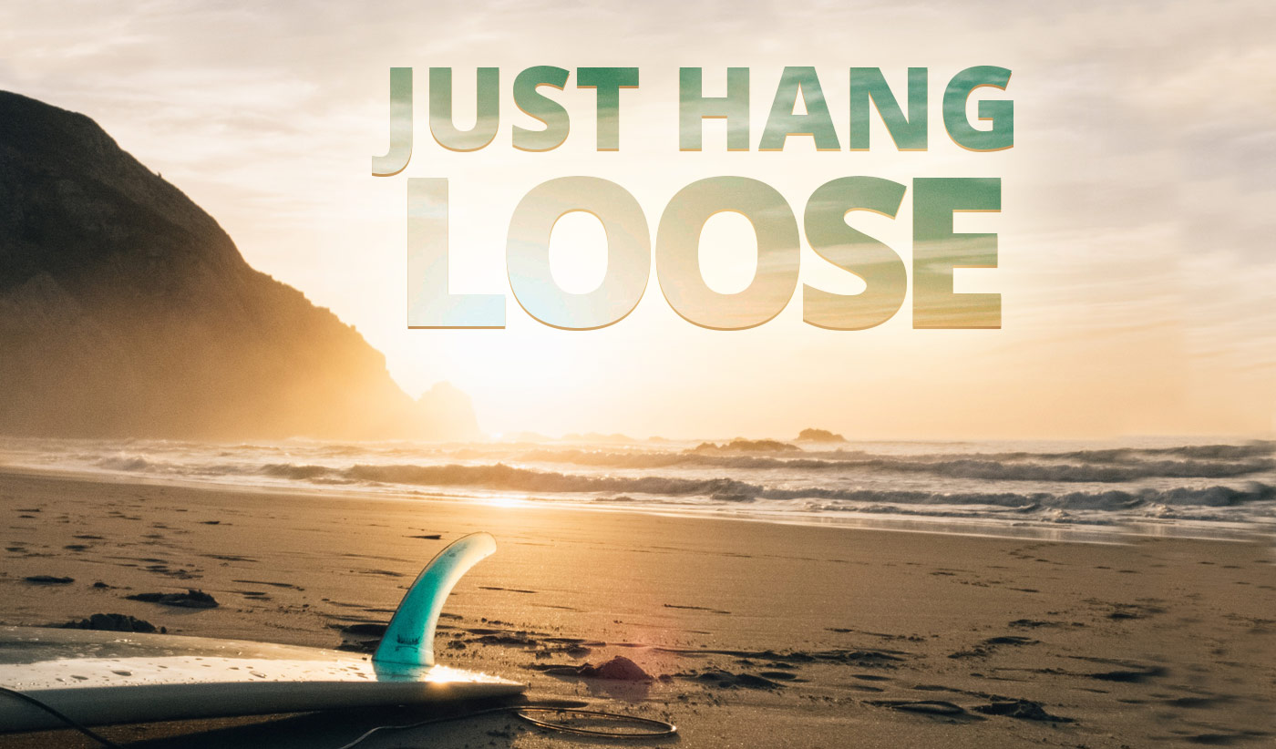 daily inspirational quote image: a surfboard, fin up, left on a beach at sunset