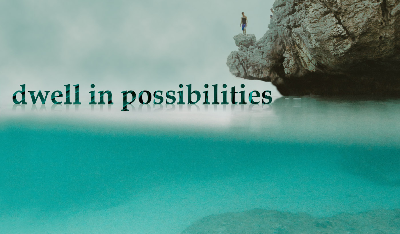 daily inspirational quote image: man standing on a cliff slightly overhanging an impossibly blue water